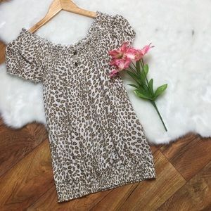 Lucky Brand cheetah print key hole top